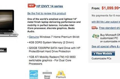 HP Envy 14 now on sale for both the washed and unwashed masses
