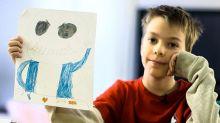 Boy sells art to help mother through shutdown