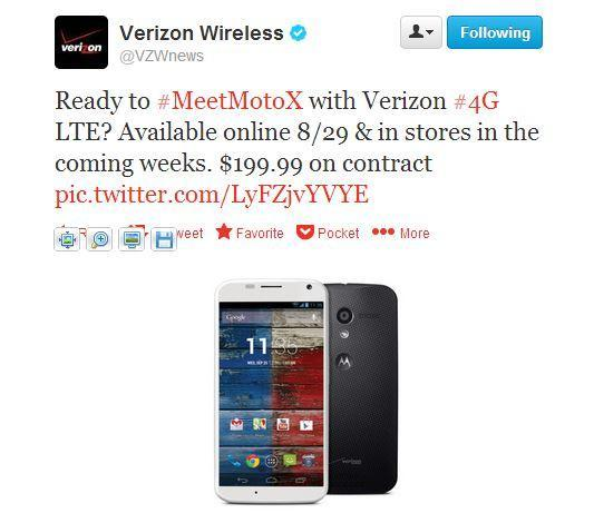 Moto X for Verizon officially available online August 29th, at stores in the coming weeks