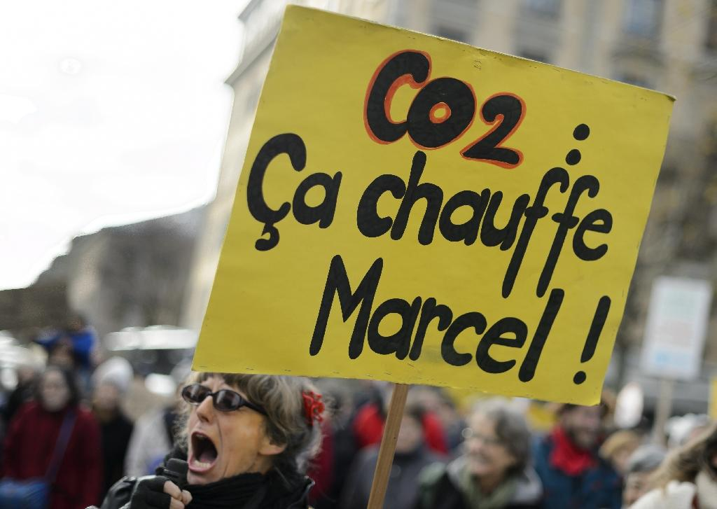 """A demonstrator holds a banner which reads """"CO2: it's getting hot Marcel!"""" (AFP Photo/Fabrice Coffrini )"""