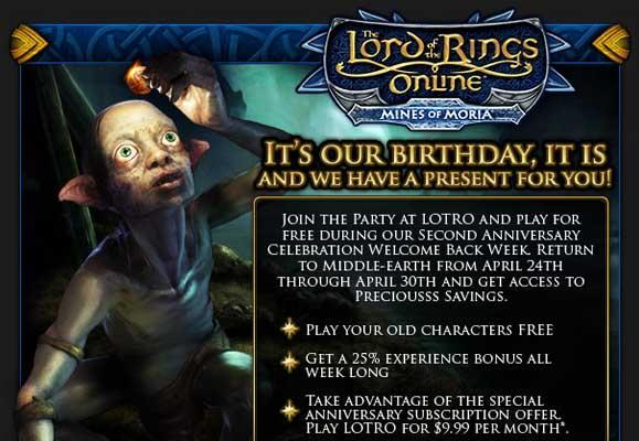 """LotRO's 2nd Anniversary brings another """"Welcome Back Week"""""""