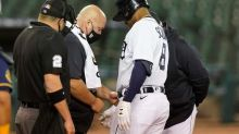 Detroit's Schoop leaves game after being hit by pitch