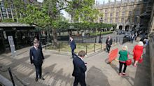 'International laughing stock': MPs made to form 'mile-long conga' outside Parliament to vote