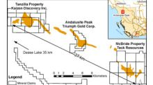 Triumph Gold Reports Discovery of Two New Gold Showings on 100% Owned Andalusite Peak Property, British Columbia