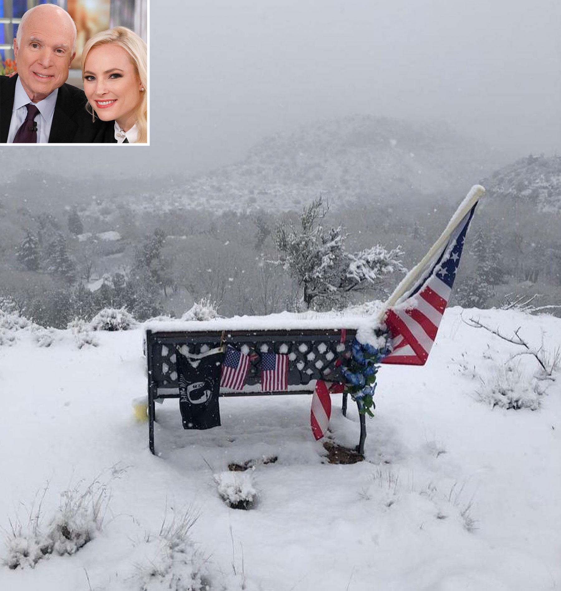 Meghan McCain Visits Late Dad John's Snowy Memorial On New