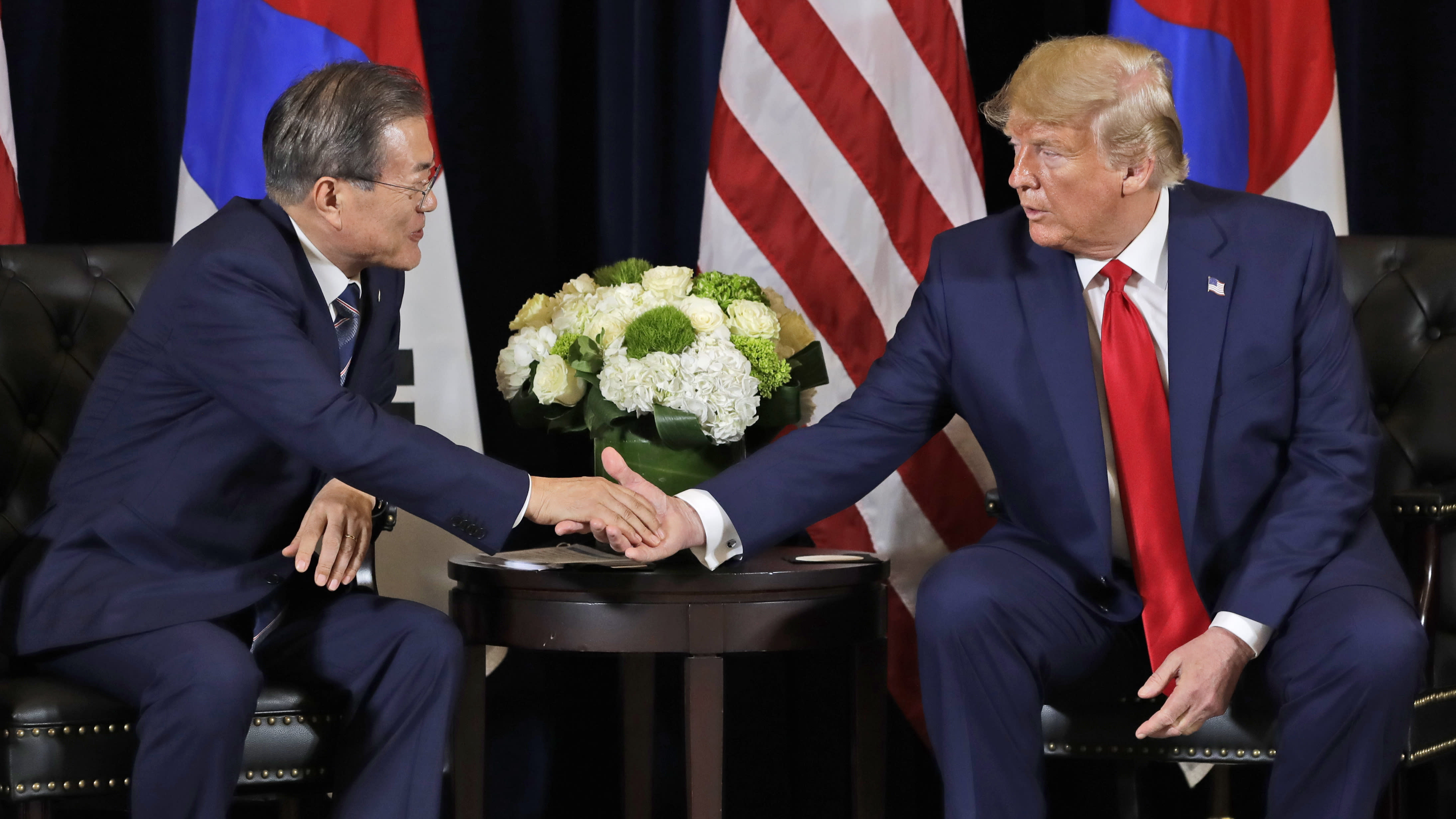 President Donald Trump meets with Korean President Moon Jae-in at the InterContinental Barclay hotel during the United Nations General Assembly, Monday, Sept. 23, 2019, in New York. (AP Photo/Evan Vucci)