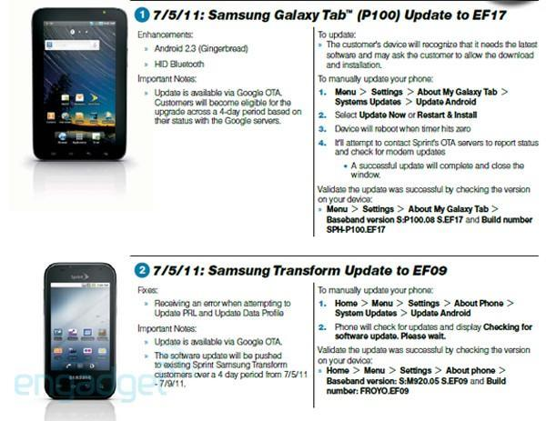 Sprint updating the Samsung Galaxy Tab with Gingerbread on July 5