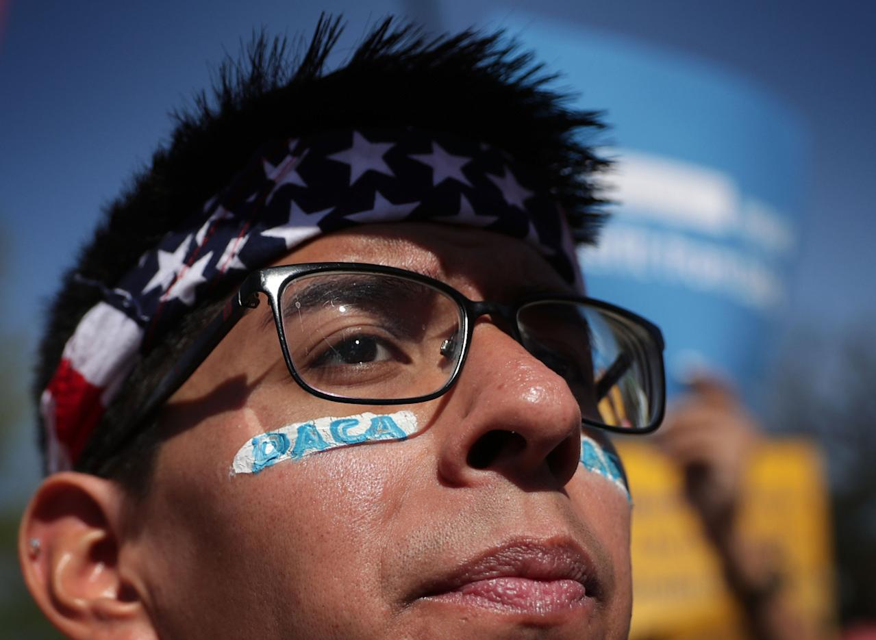 <p>Pro-immigration activist Omar Martinez attends a rally in front of the U.S. Supreme Court, April 18, 2016. <i>(Photo: Alex Wong/Getty Images)</i></p>