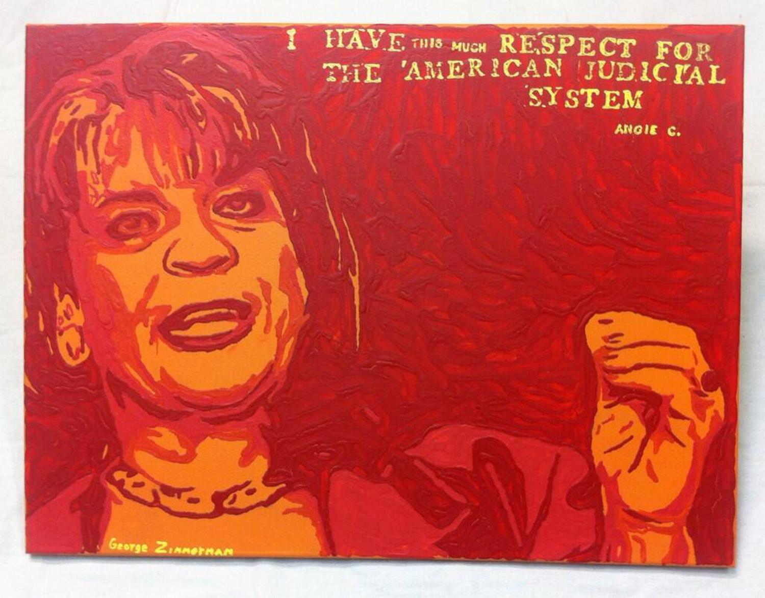 """FILE - This undated file photo shows a painting by George Zimmerman, portraying Florida State Attorney Angela Corey, the special prosecutor who charged him with second-degree murder in the 2012 shooting death of 17-year-old Trayvon Martin. Zimmerman's brother, Robert Zimmerman Jr., posted a photo of the painting, titled """"Angie"""", on Twitter on Wednesday, Jan. 22, 2014. He said details about its sale would follow Thursday. The Associated Press has demanded that they halt the sale of the painting because the news agency says it directly copies an AP photo taken by freelance photographer Rick Wilson on April 11, 2012. (AP Photo)"""