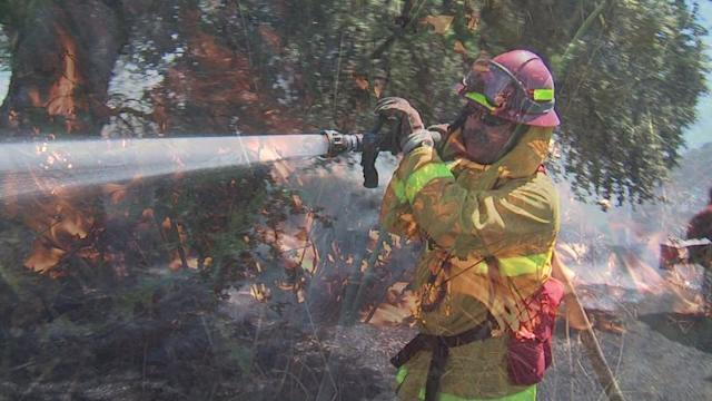 Firefighters Battle Grass Fire in California