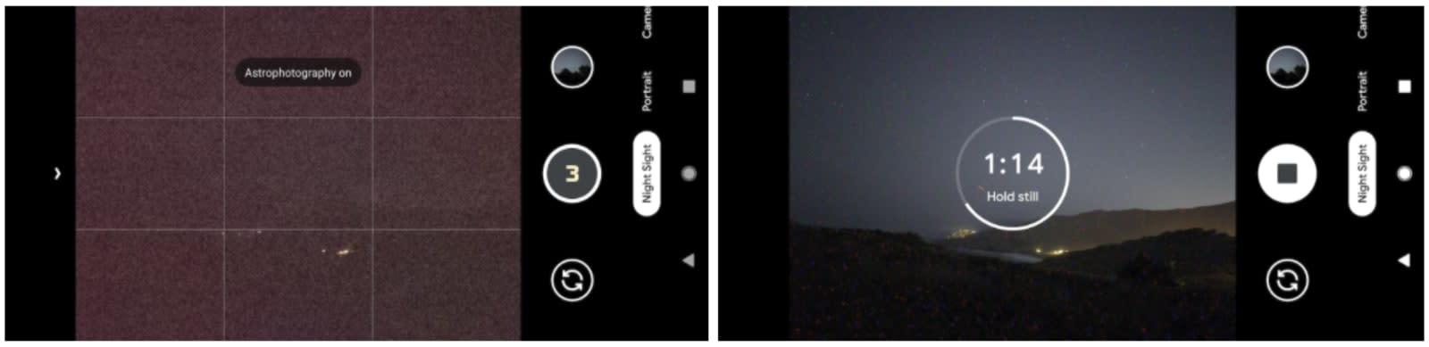Google night sight pixel 4 astrophotography
