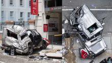 New Orleans Saints player helps flip G-Wagen that falls off parking garage