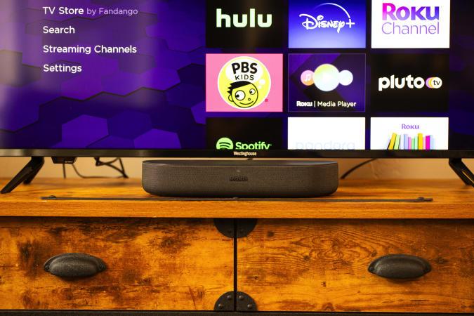 Roku Streambar smart soundbar in a living room.
