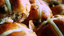 KFC are trialling a hot cross bun burger for Easter served with their famous chicken