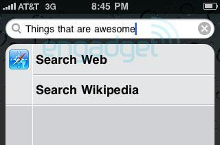 iPhone OS 4.0 spotlight lets you directly search web, Wikipedia