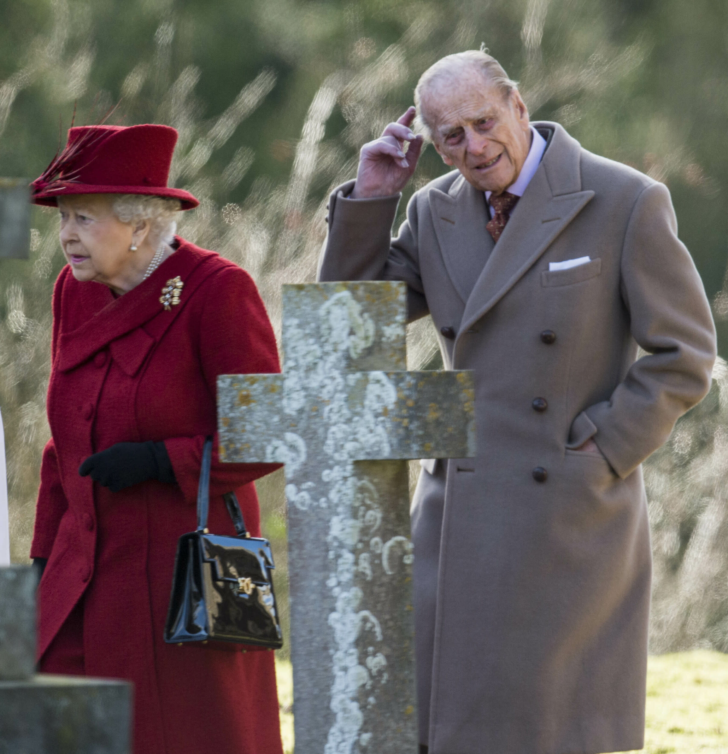 Photo by: KGC-178/STAR MAX/IPx 2018 2/4/18 Queen Elizabeth II and Prince Philip, Duke of Edinburgh attend Sunday Service with Reverend Jonathan Riviere at St Peter and St Paul Church in West Newton, Norfolk.