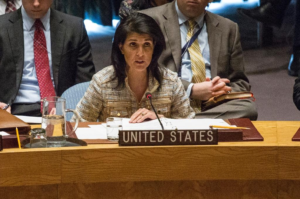 US United Nations Ambassador Nikki Haley speaks at a Security Council meeting on February 21, 2017 at the UN Headquarters in New York