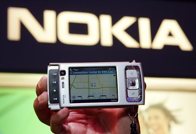 LAS VEGAS - JANUARY 09:  The newly-launched Nokia N95 camera phone is displayed at the Las Vegas Convention Center during the 2007 International Consumer Electronics Show January 9, 2007 in Las Vegas, Nevada. The device features integrated GPS, a five-megapixel camera, 30 frames per second video capture, an MP3 player, and internet radio and e-mail capabilities. The world's largest consumer technology trade show runs through January 11 and features 2,700 exhibitors showing off their latest products and services to more than 150,000 attendees.  (Photo by Ethan Miller/Getty Images)