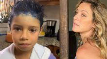 Luana Piovani pinta cabelo do filho de azul