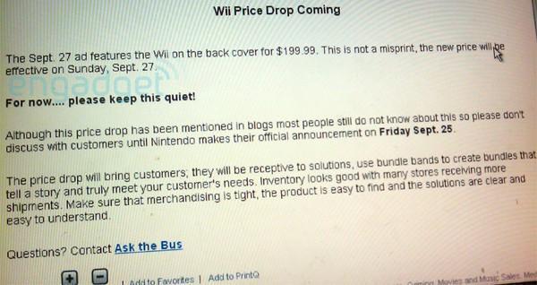Wii price drop confirmed: $199 starting this weekend