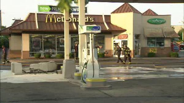 Car slams into gas pump in West Oak Lane, sparks fire