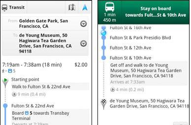 Google Maps 5.7 for Android brings Transit Navigation beta, updated access to directions