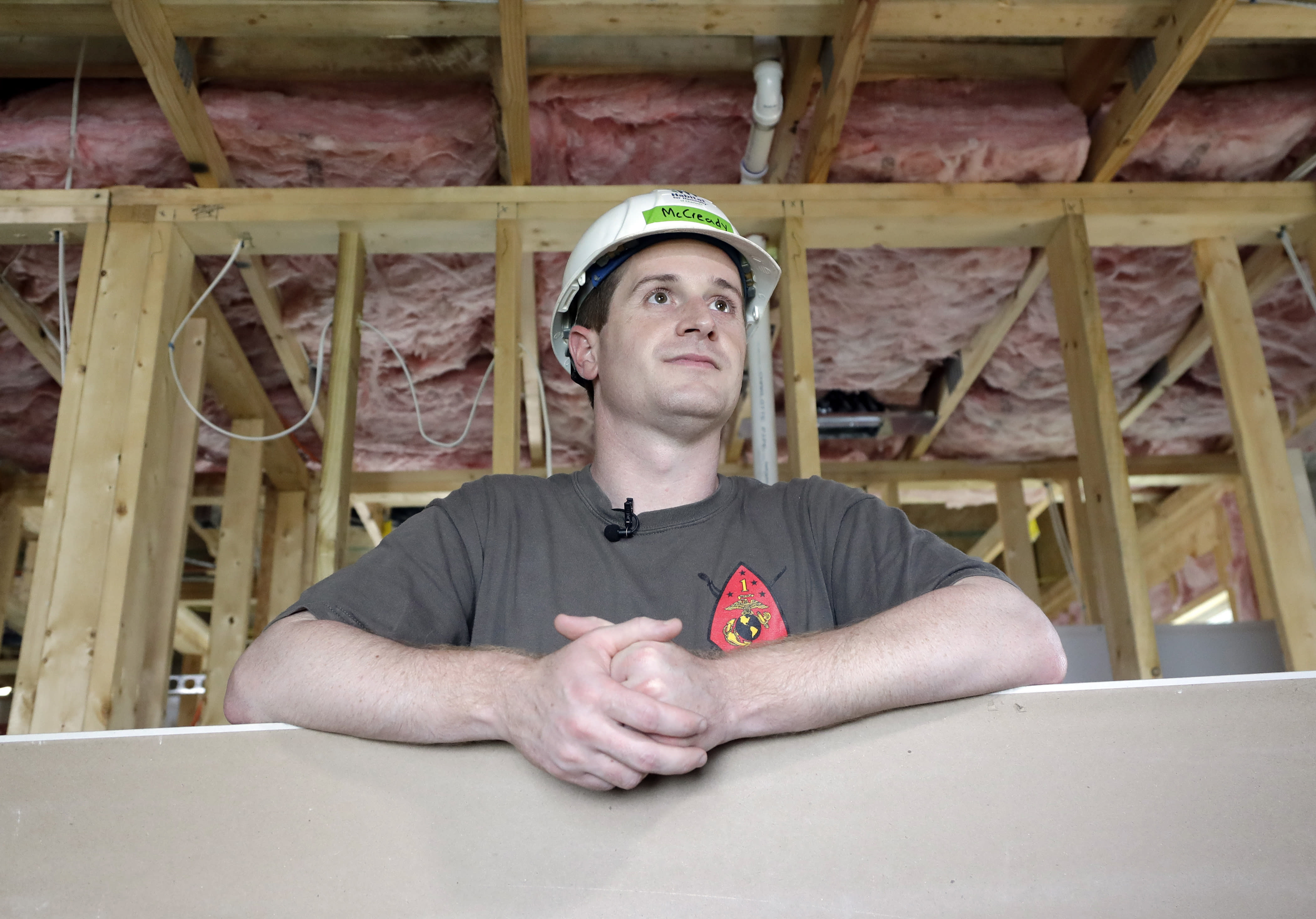 """FILE - In this Sept. 26, 2018 file photo, Democratic congressional candidate Dan McCready, left, leans against wallboard as he pauses during a Habitat For Humanity building event in Charlotte, N.C. North Carolina election officials agreed Friday, Nov. 30, to hold a public hearing into alleged """"numerous irregularities"""" and """"concerted fraudulent activities"""" involving traditional mail-in absentee ballots in the 9th Congressional District, apparently in two rural counties. Republican Mark Harris leads McCready by 905 votes from nearly 283,000 cast in all or parts of eight south-central counties reaching from Charlotte to near Fayetteville. (AP Photo/Chuck Burton, File)"""