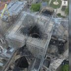 Aerial footage shows aftermath of Notre Dame blaze from above