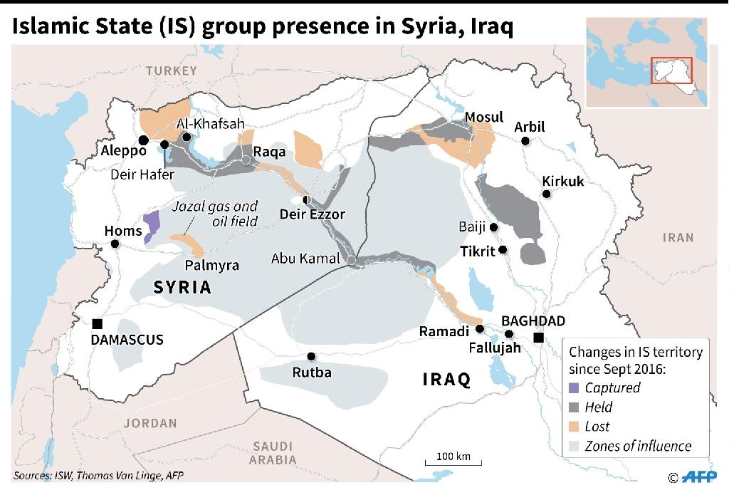 IS group presence in Syria and Iraq (AFP Photo/Sophie RAMIS)
