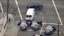 LAPD cars, civilian vehicles smashed up in stolen van pursuit