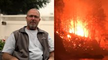 He survived an Oregon wildfire by perching on a rock in a river, fending off embers with a chair