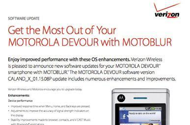 Motorola Devour graced with update, bug fixes are the main story