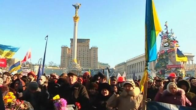Protesters rally in Kiev after news of international support
