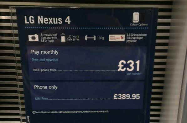 Nexus 4 priced at £390 by purported Carphone Warehouse in-store display placard