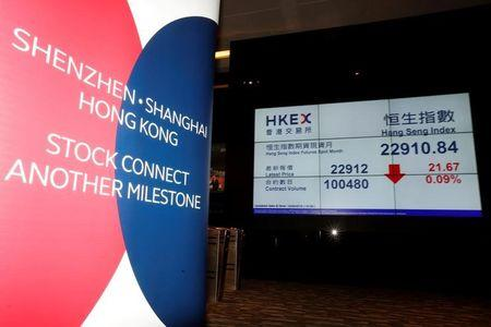 A banner promoting Shenzhen-Hong Kong Stock Connect is displayed at the Hong Kong Exchanges