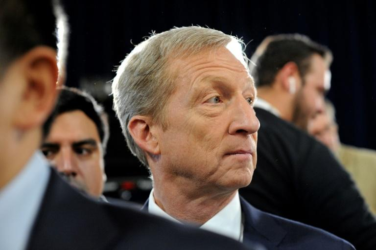 Tom Steyer, seen here in New Hampshire, has invested tens of millions of dollars in his campaign for the Democratic presidential nomination (AFP Photo/Joseph Prezioso)
