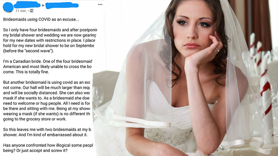 Bride's rant about guest's 'illogical' coronavirus fear backfires