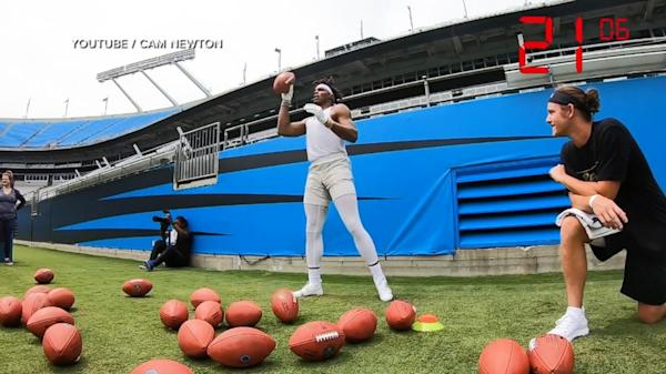online store 02e8a a16c9 Panthers quarterback Cam Newton broke a world record for catches