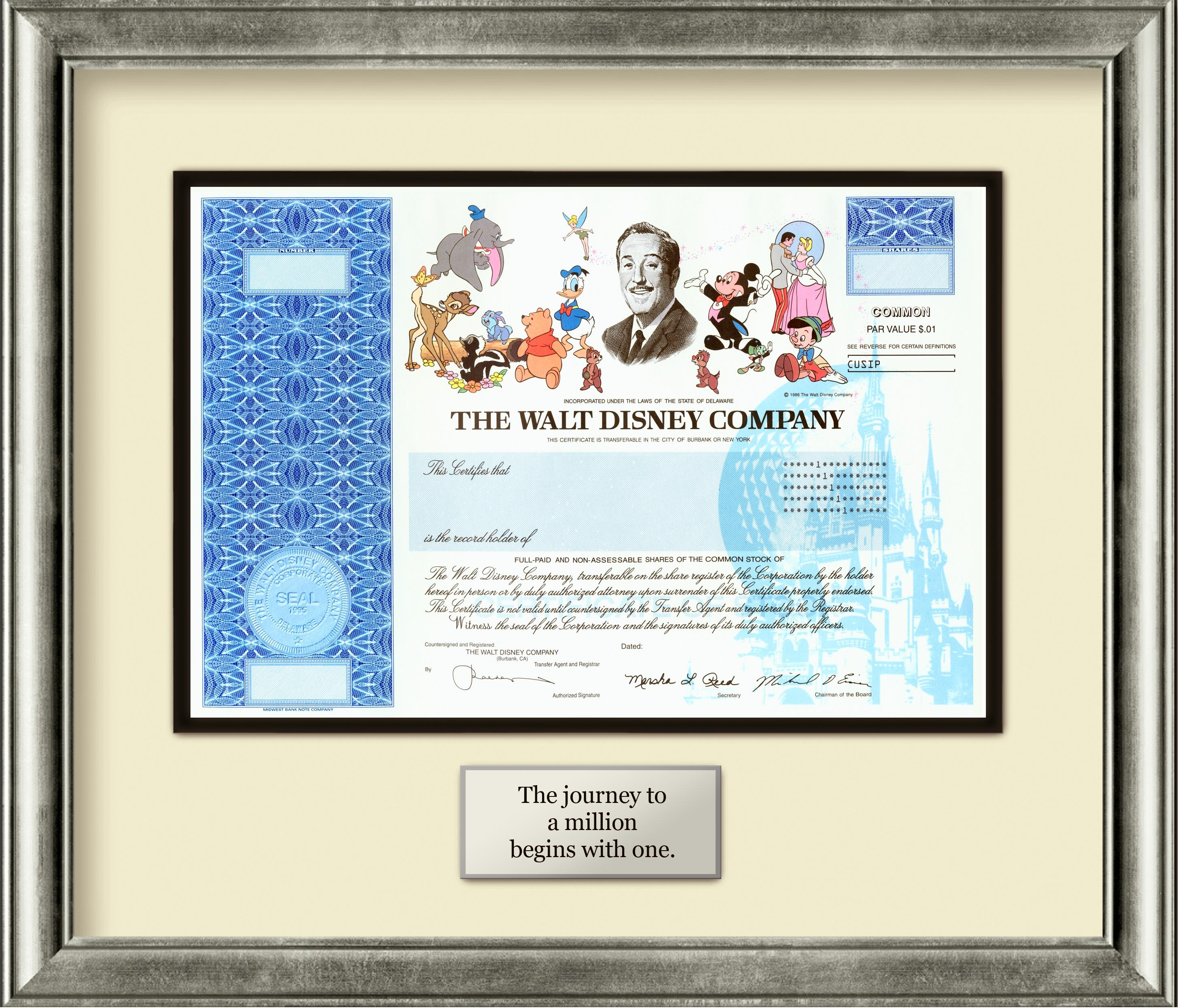 Yahoo Business Finance Stocks Quotes: Disney Stock Certificates Off To Never Never Land