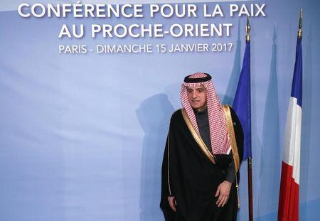 Saudi Foreign Minister Adel al-Jubeir arrives for the opening of the Mideast peace conference in Paris