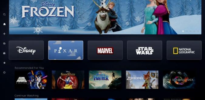 Disney+ app running on a smart TV platform.