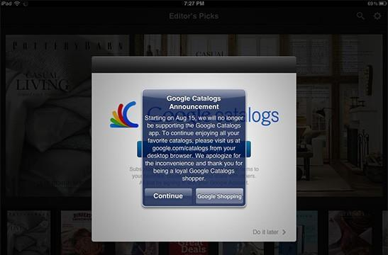 Google Catalogs for Android and iOS to be mothballed on August 15th