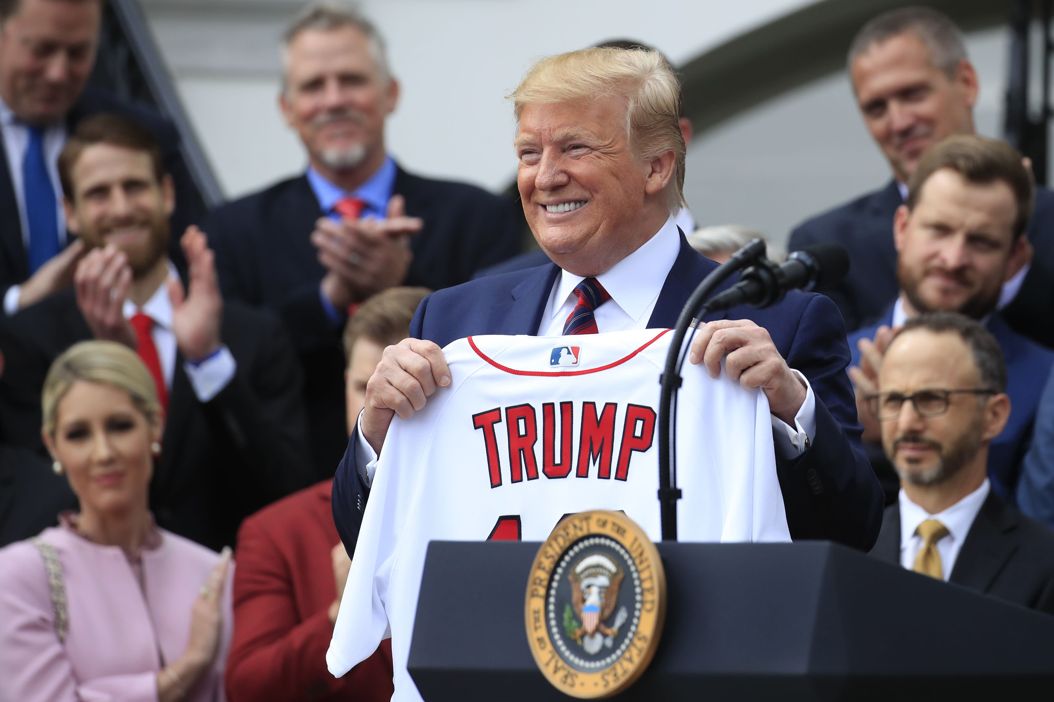 World Series: Rob Manfred says President Trump opted out of first ...