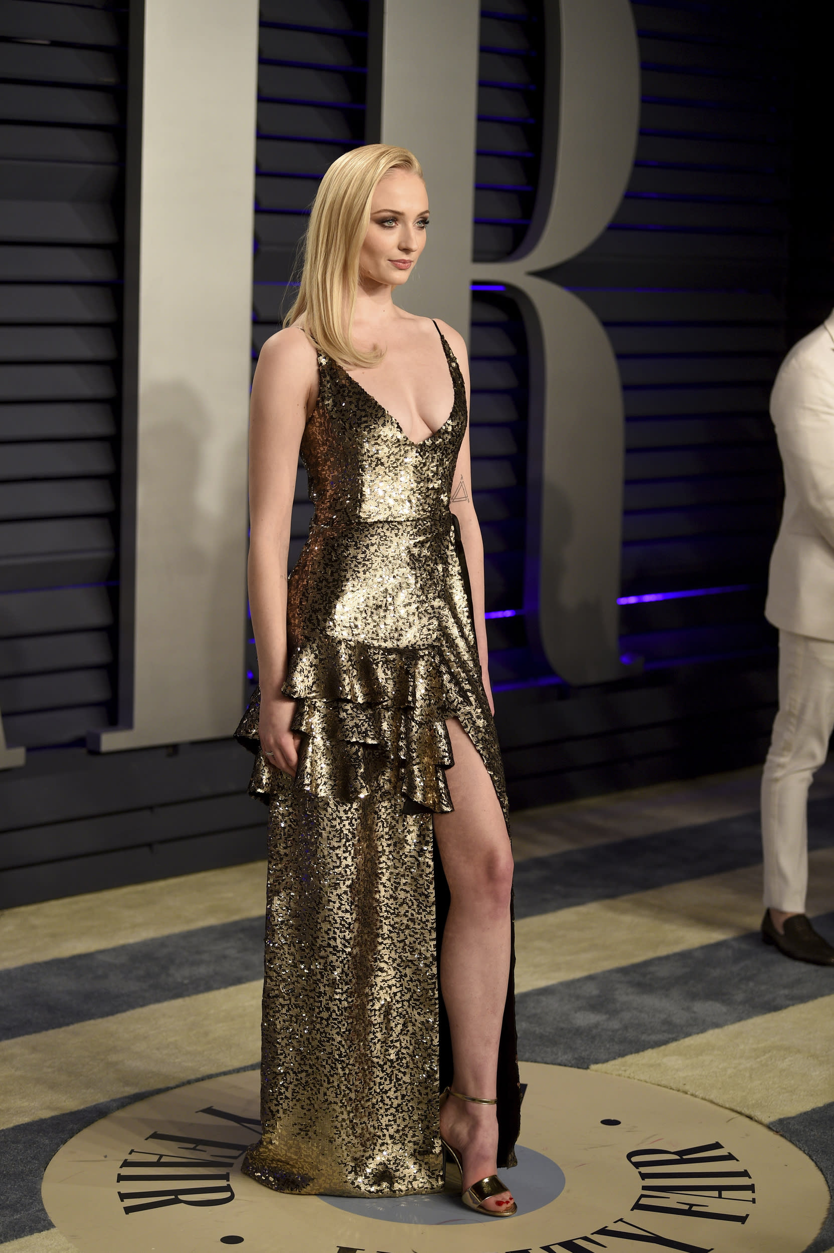 Sophie Turner arrives at the Vanity Fair Oscar Party on Sunday, Feb. 24, 2019, in Beverly Hills, Calif. (Photo by Evan Agostini/Invision/AP)