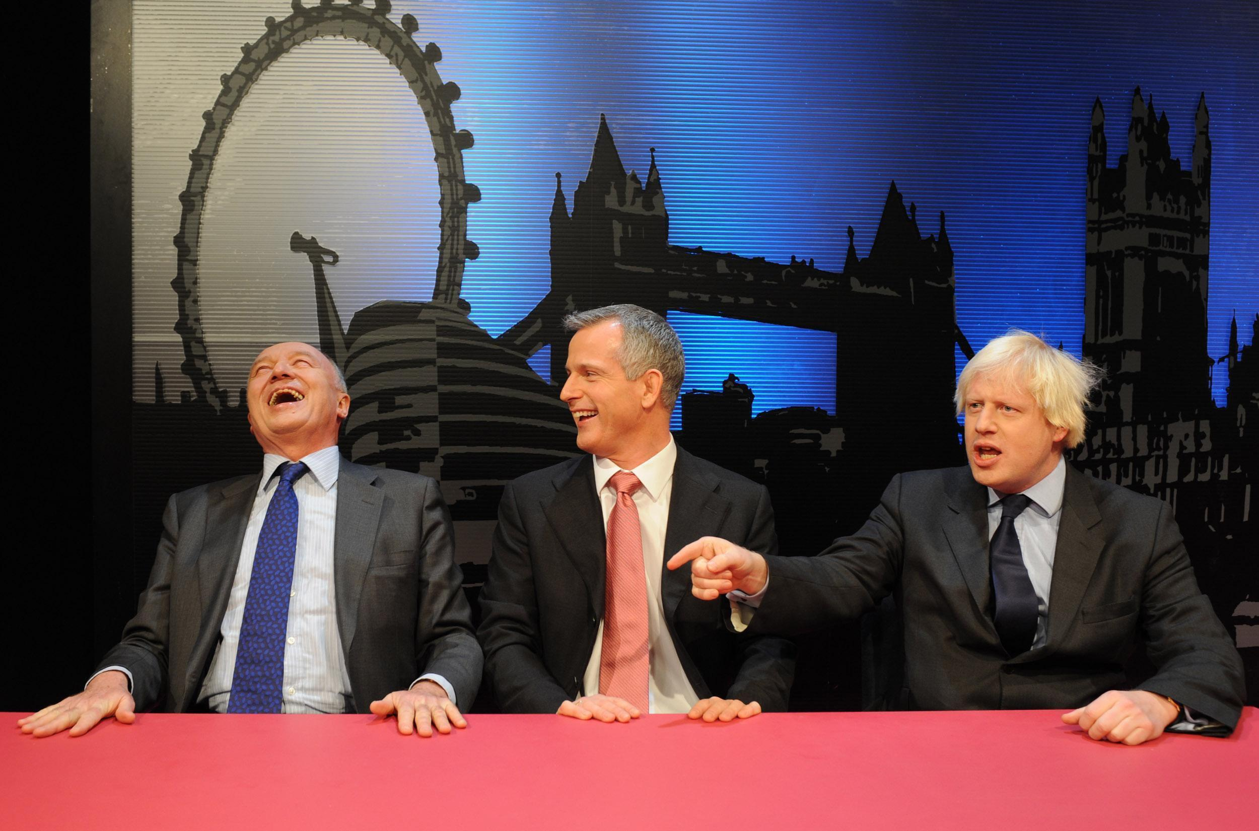 Candidates for Mayor of London, Labour's Ken Livingston (left), Lib Dem candidate Brian Paddick (centre) and Boris Johnson of the Conservative party, appear together on television debate.