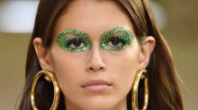 Kaia Gerber Wore Green Gemstones as Eye Makeup