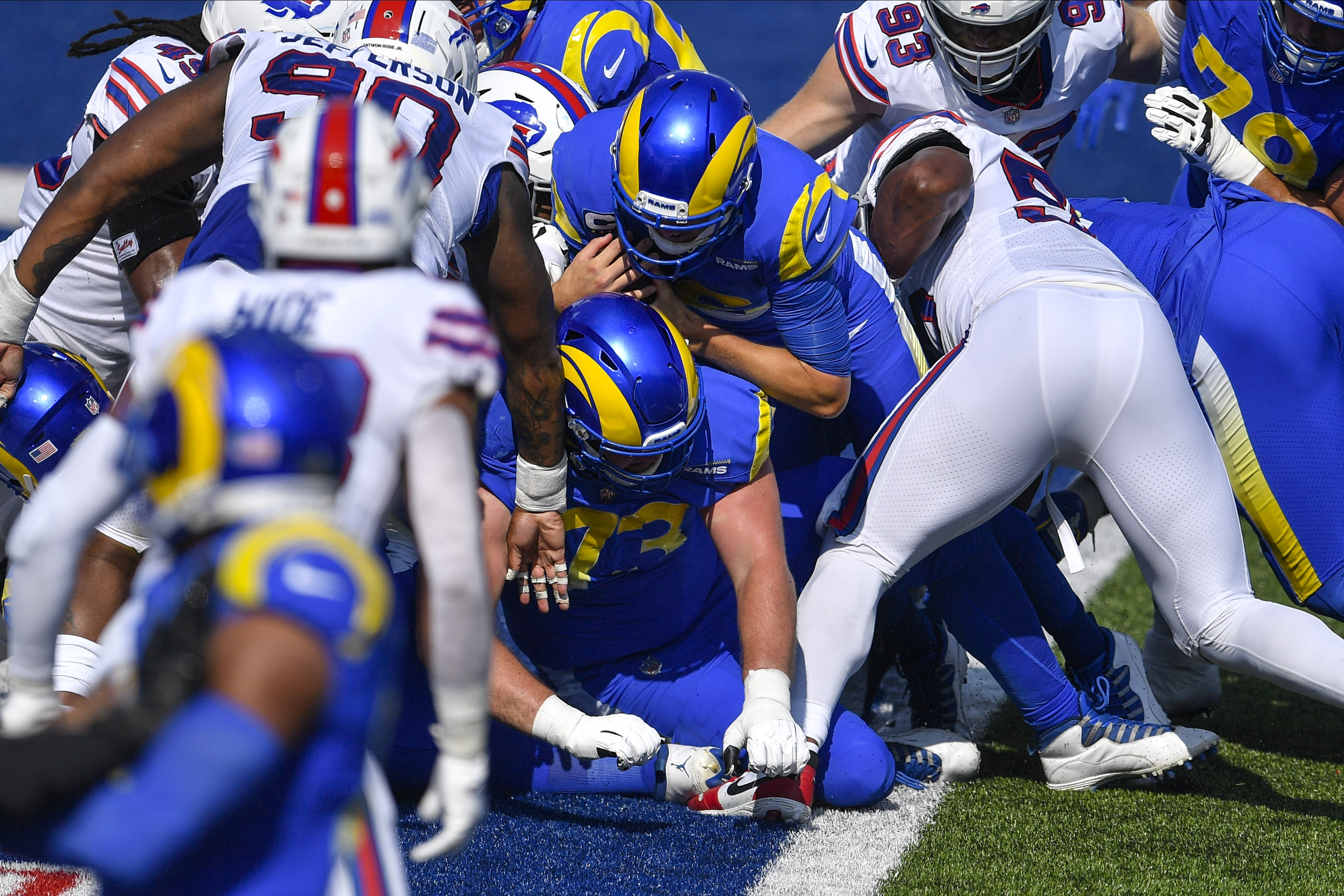 Los Angeles Rams quarterback Jared Goff, center, rushes for a touchdown during the second half of an NFL football game against the Buffalo Bills Sunday, Sept. 27, 2020, in Orchard Park, N.Y. (AP Photo/Adrian Kraus)