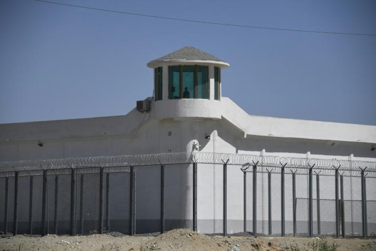 A watchtower at a high-security facility on the outskirts of Hotan, in China's northwestern Xinjiang region, believed to house a re-education camp where mostly Muslims are detained (AFP Photo/GREG BAKER)