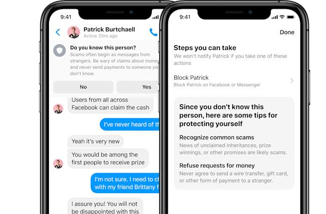 Facebook Messenger adds pop-ups to warn users about scams