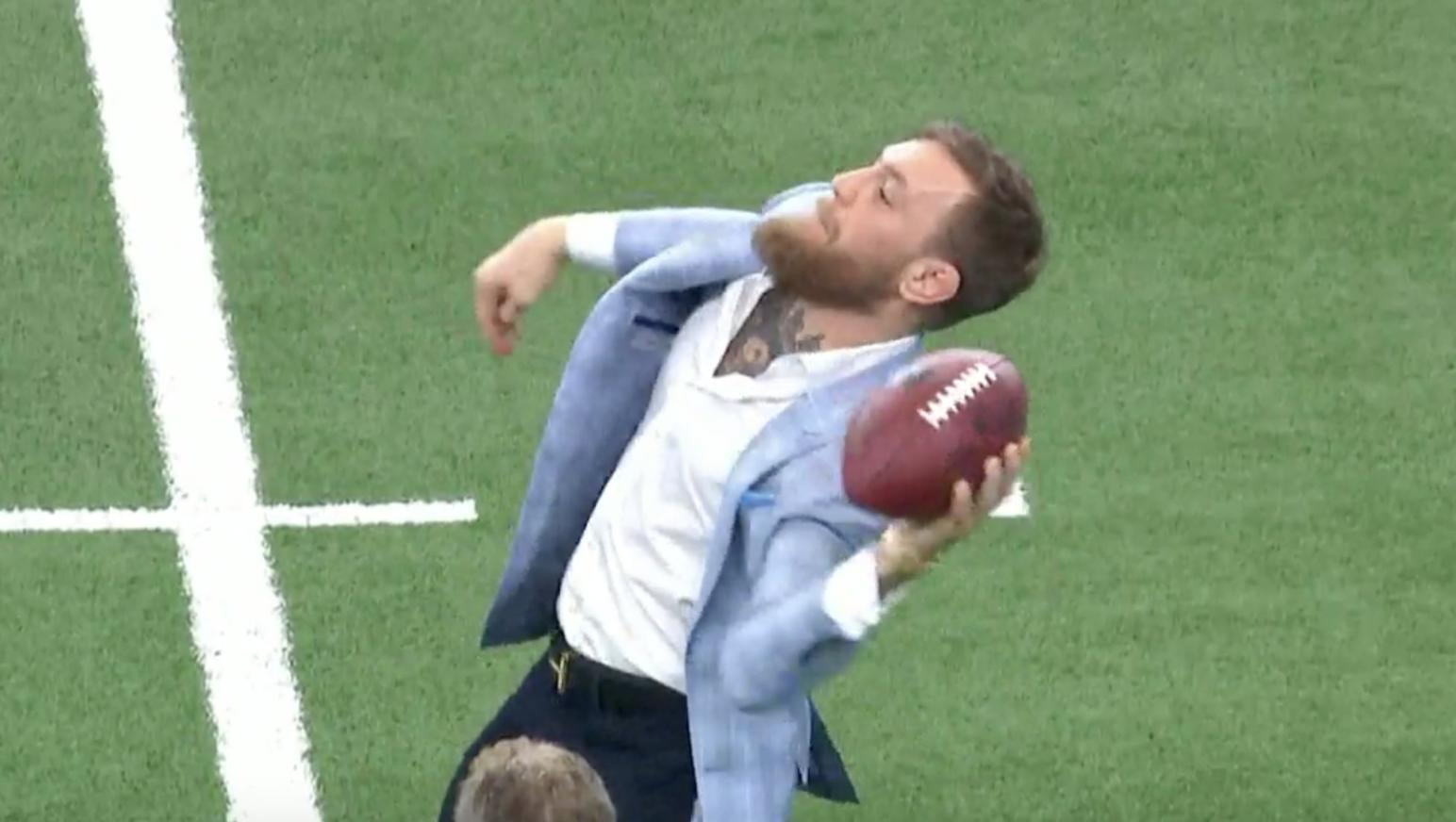 Conor McGregor can't throw a football, but we're not going to tell him that